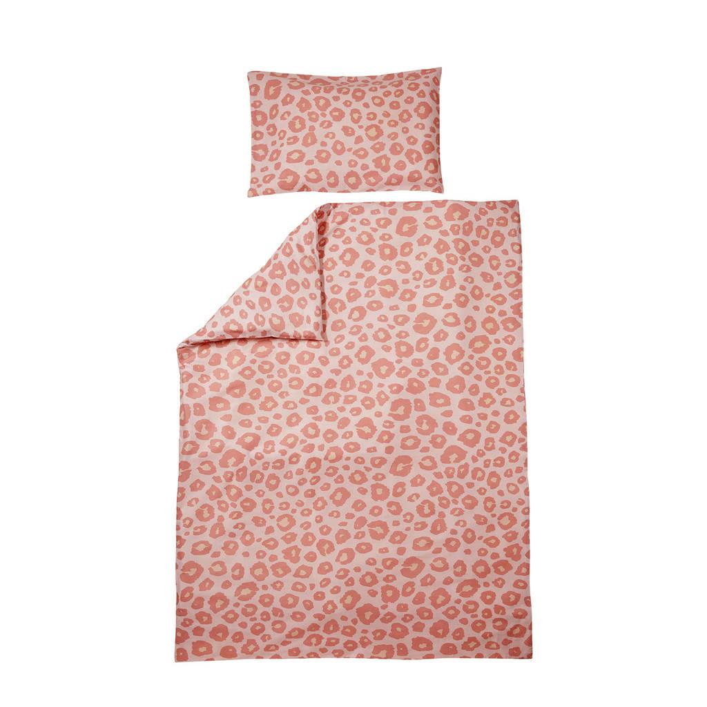 Meyco Panter dekbedovertrek ledikant 100x135 cm roze, Oudroze/lichtroze