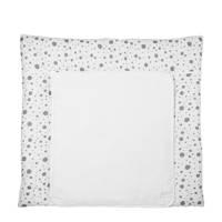 Meyco Dots aankleedkussenhoes 85x75 cm wit/grijs, Wit/grijs