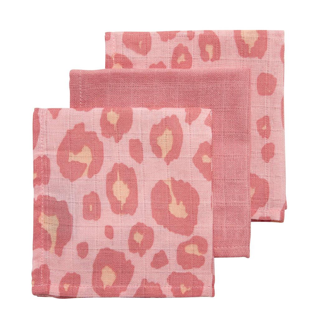 Meyco hydrofiele monddoekjes 30x30 cm (set van 3) panter/uni, Roze