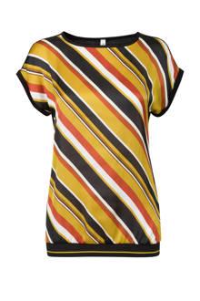 Regulier diagonaal gestreept t-shirt geel