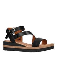 No Stress   leren sandalen zwart, Zwart