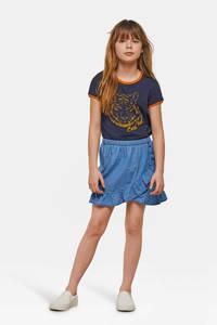 WE Fashion Blue Ridge spijkerrok met volant, Dark denim