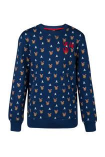 WE Fashion kerst sweater met alloverprint blauw (jongens)