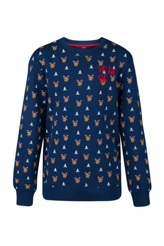 kerst sweater met alloverprint blauw