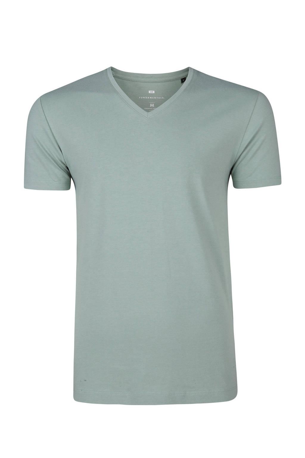 WE Fashion Fundamental slim fit T-shirt, Groen
