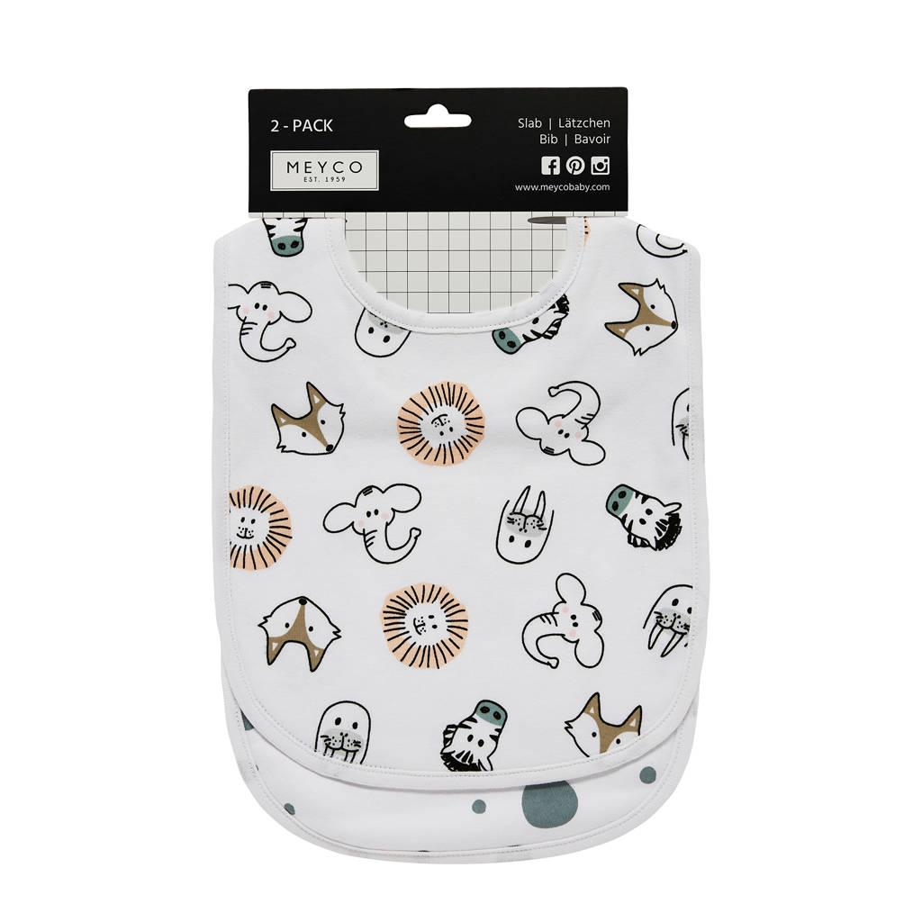 Meyco slabbetjes (set van 2) animal/dots, Wit/grijs/beige