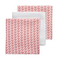 Meyco hydrofiele luiers 70x70 cm (set van 3) knitted heart/uni, Roze/wit