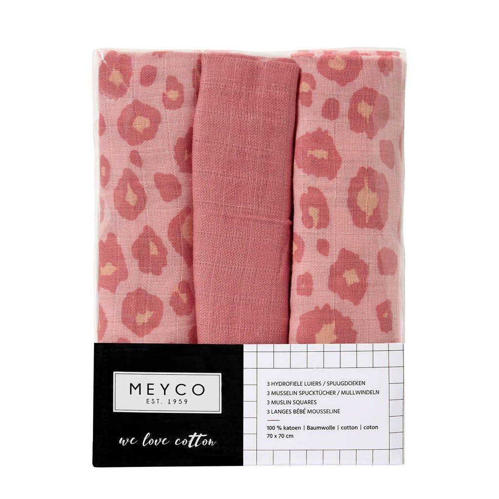 Meyco hydrofiele luiers 70x70 cm (set van 3) panter/uni, Roze
