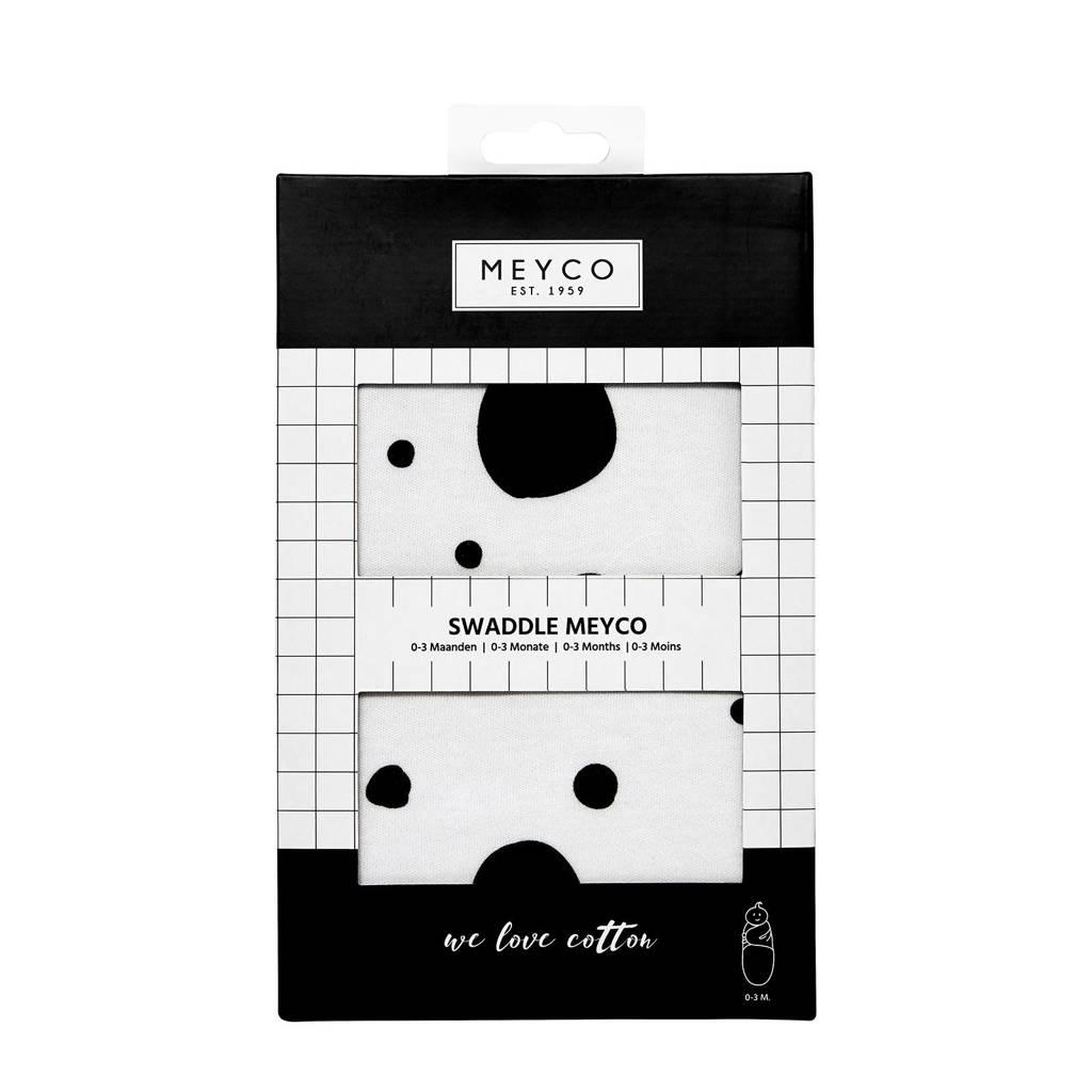 Meyco Dots inbakerdoek 0-3 mnd wit/zwart, Wit/zwart