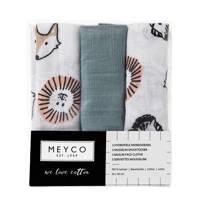 Meyco hydrofiele monddoekjes 30x30 cm (set van 3) animal/uni, Groen/wit/bruin