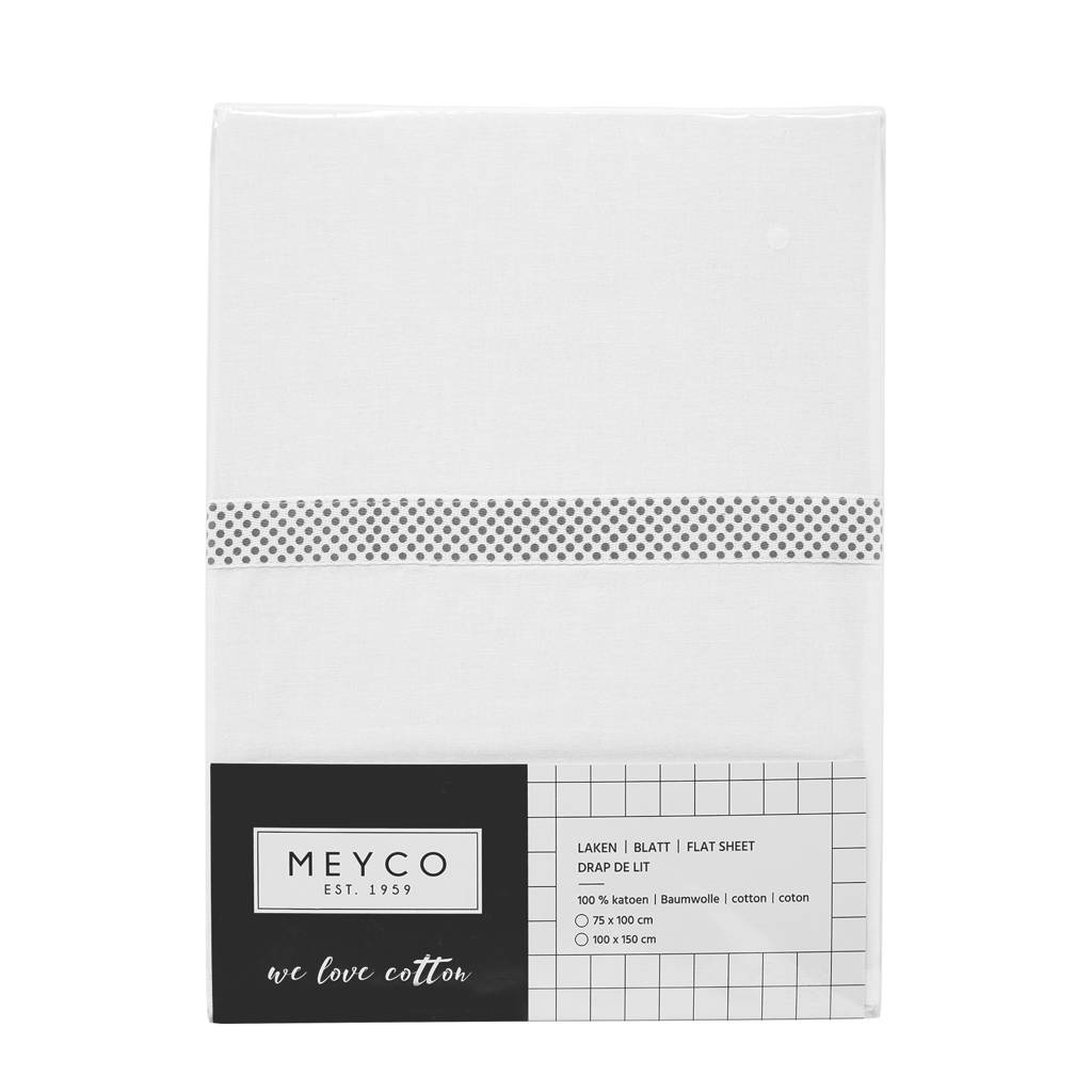 Meyco ledikantlaken met bies 100x150 cm grijs, Wit/bies grijs