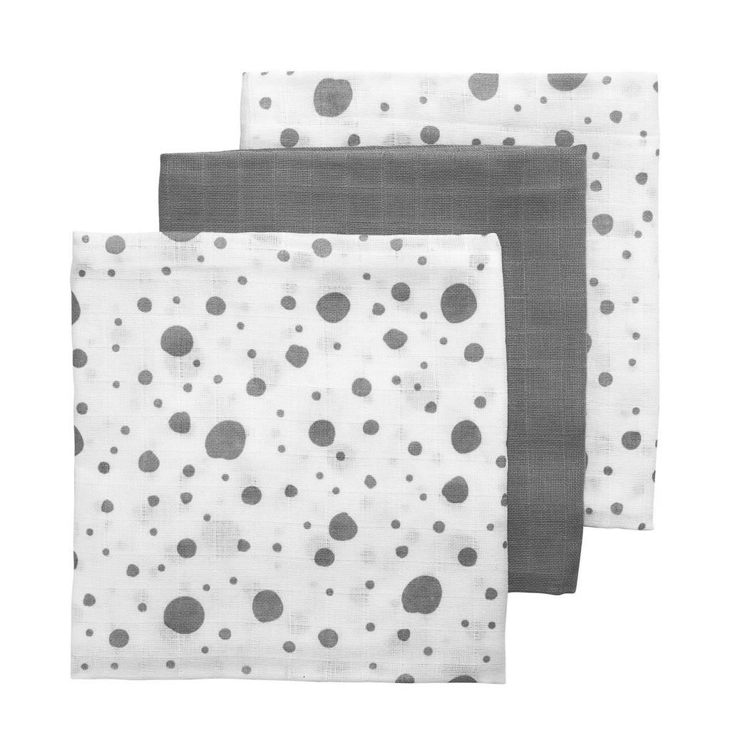 Meyco hydrofiele swaddles 120x120 cm (set van 3) dots/uni, Grijs/wit