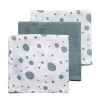 Meyco hydrofiele monddoekjes 30x30 cm (set van 3) dots/uni, Groen/wit