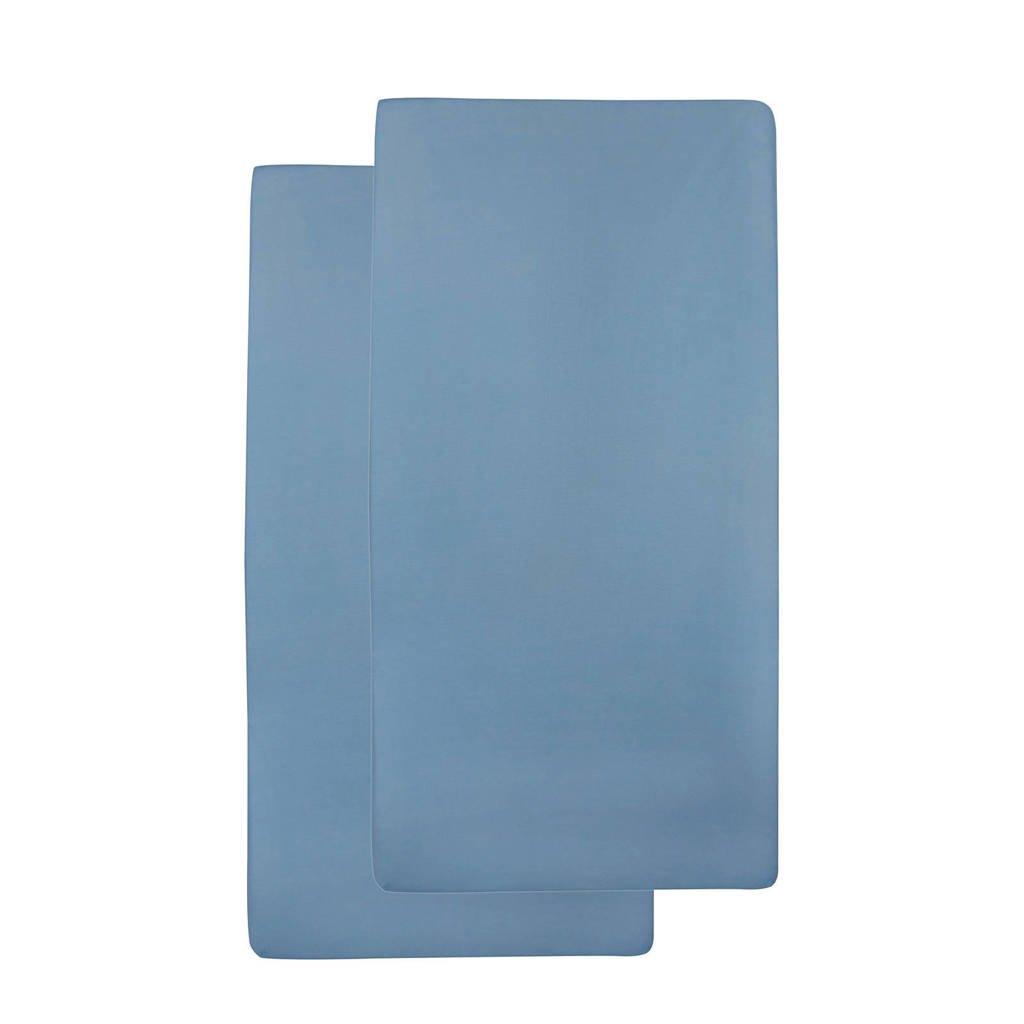 Meyco katoenen baby hoeslaken ledikant 60x120 cm (set van 2) Jeans, jeans
