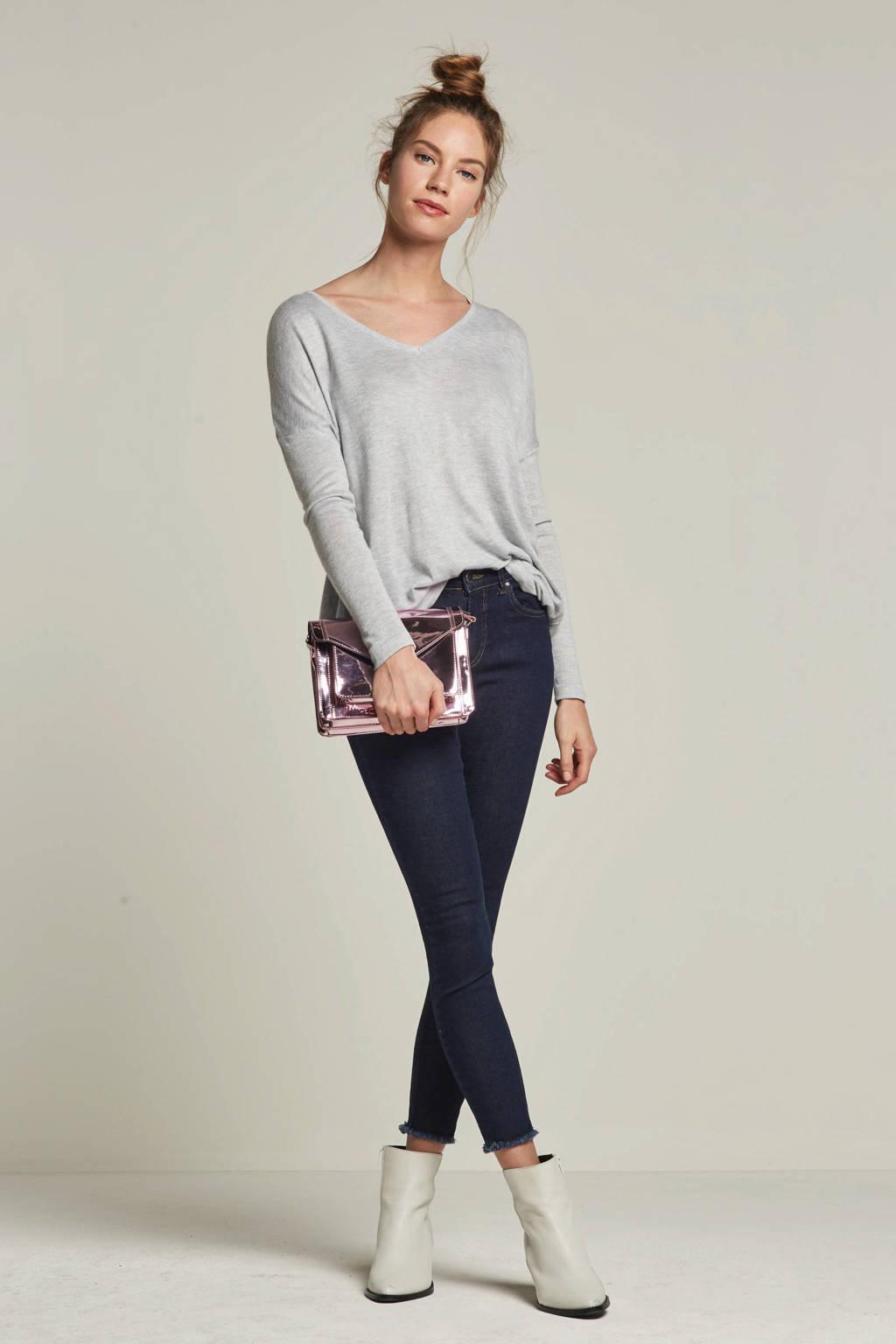 ONLY skinny jeans met gerafelde uiteinden, Donkerblauw