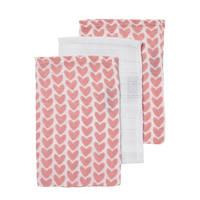 Meyco hydrofiele washandjes (set van 3) knitted heart/uni, Roze/wit