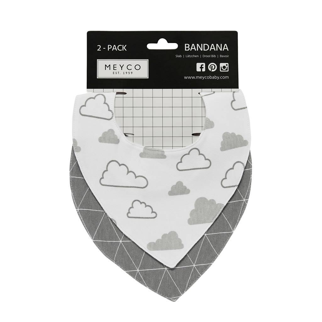 Meyco bandana (set van 2) triangle/little clouds, Grijs/wit