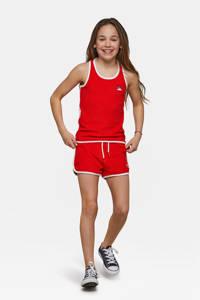 WE Fashion badstof sweatshort met zijstreep rood/wit, Rood/wit