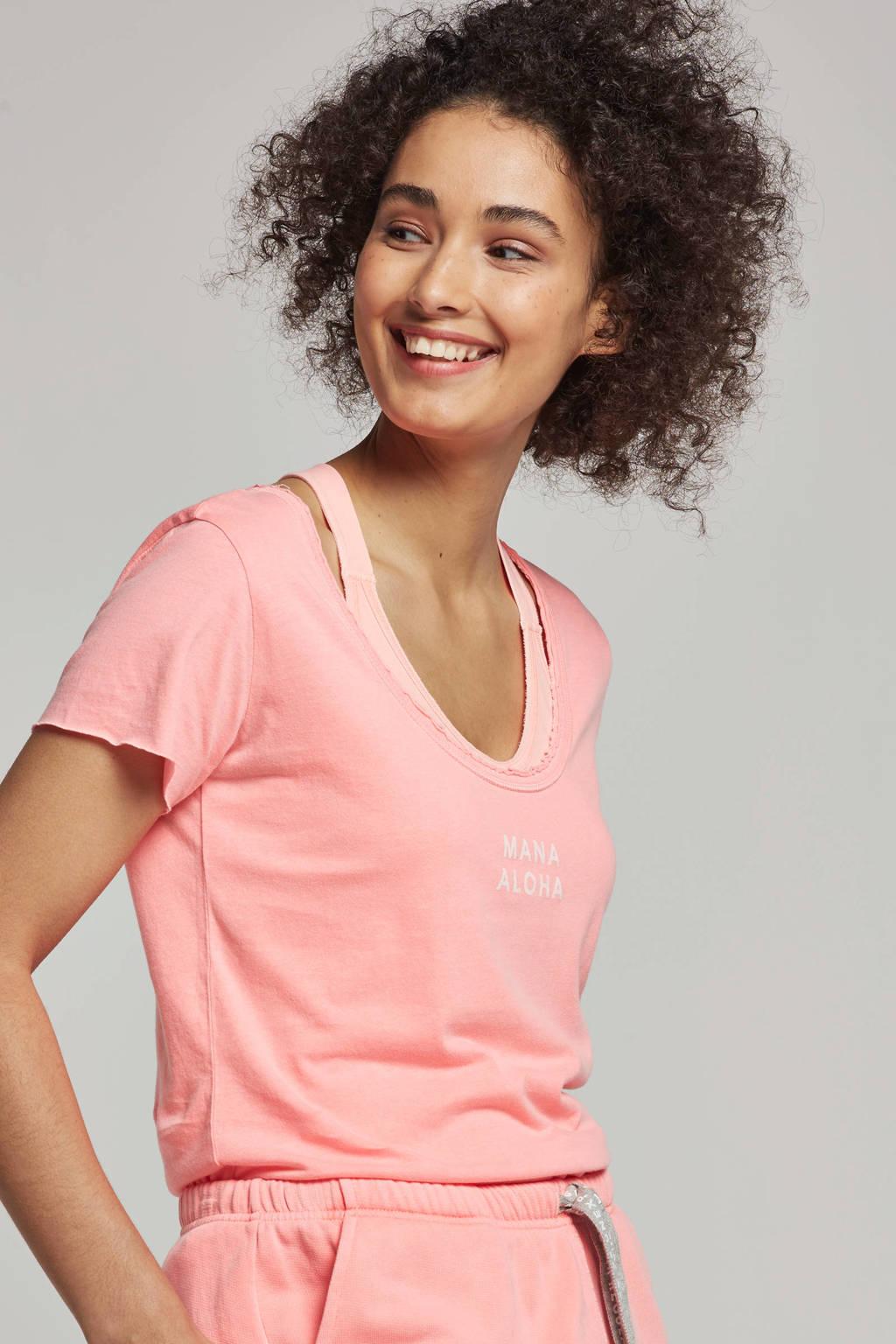 10DAYS T-shirt met printopdruk, Roze