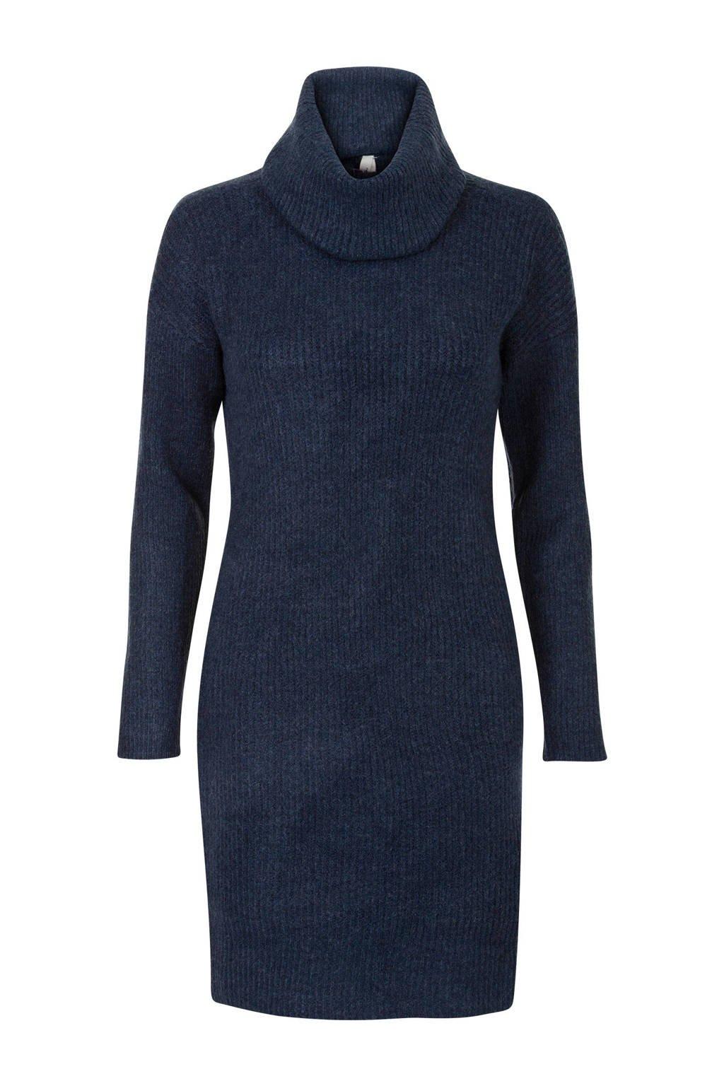Miss Etam Regulier jurk met col donkerblauw, Blauw