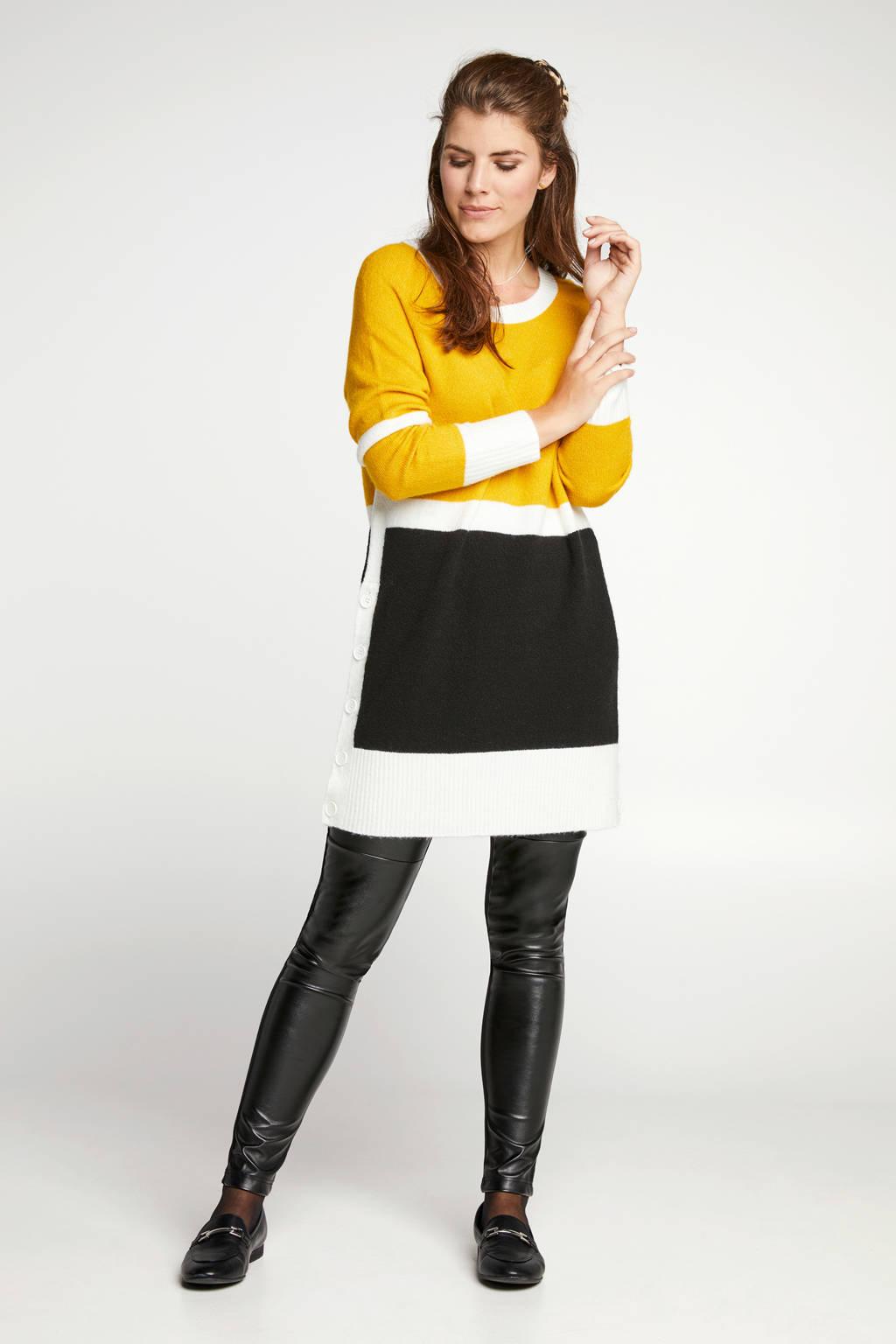 Miss Etam Regulier trui geel, Zwartgeel/wit