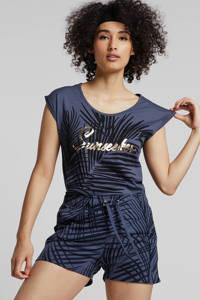 whkmp's beachwave regular fit sweatshort met bladprint indigoblauw/donkerblauw, Indigoblauw/donkerblauw