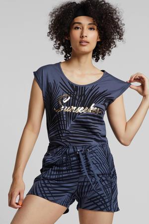 regular fit sweatshort met bladprint indigoblauw/donkerblauw