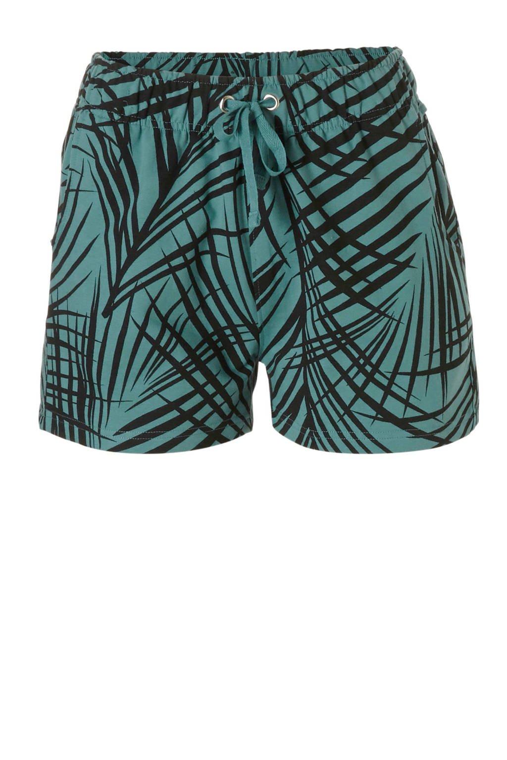 whkmp's beachwave regular fit sweatshort met bladprint turquoise/zwart, Turquoise/zwart