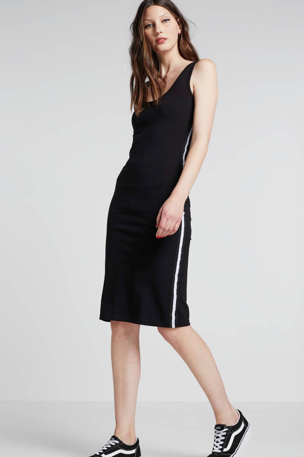whkmp's beachwave jurk met contrasterende bies zwart, Zwart/wit