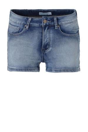 jeans short met zijstreep stonewashed blauw
