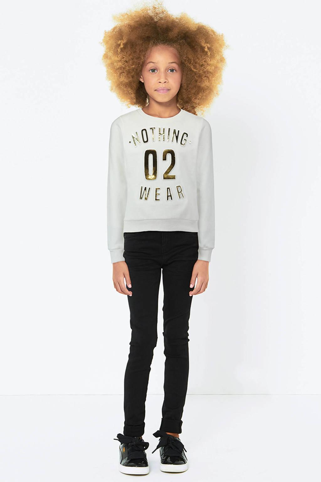 CoolCat sweater met tekst wit, Gebroken wit