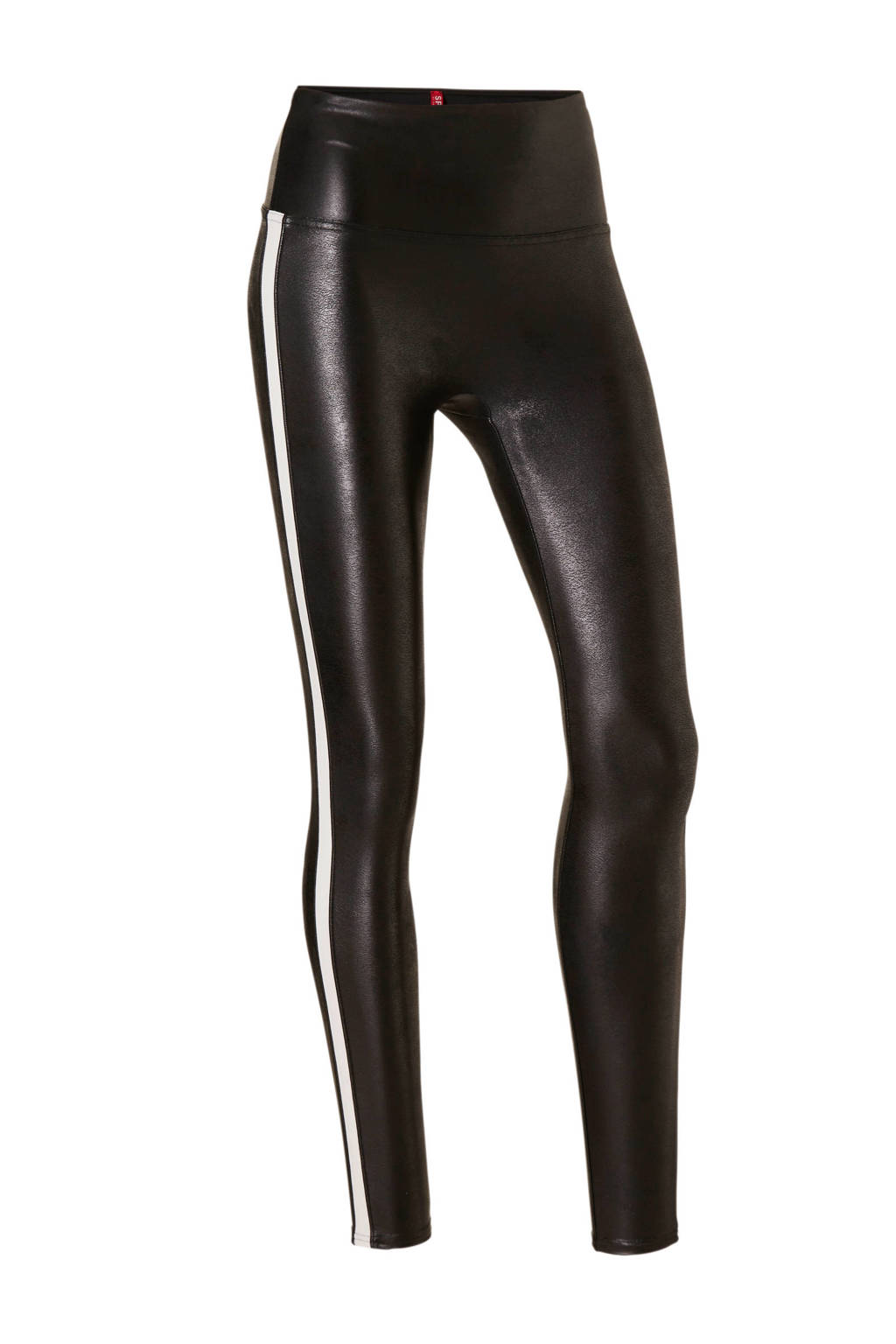 SPANX corrigerende legging Faux Leather Side Stripe zwart, Zwart/wit