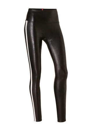 corrigerende legging Faux Leather Side Stripe zwart