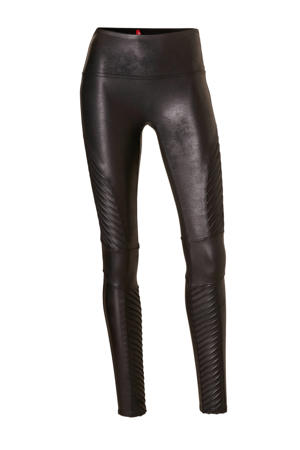 corrigerende legging Faux Leather Moto zwart