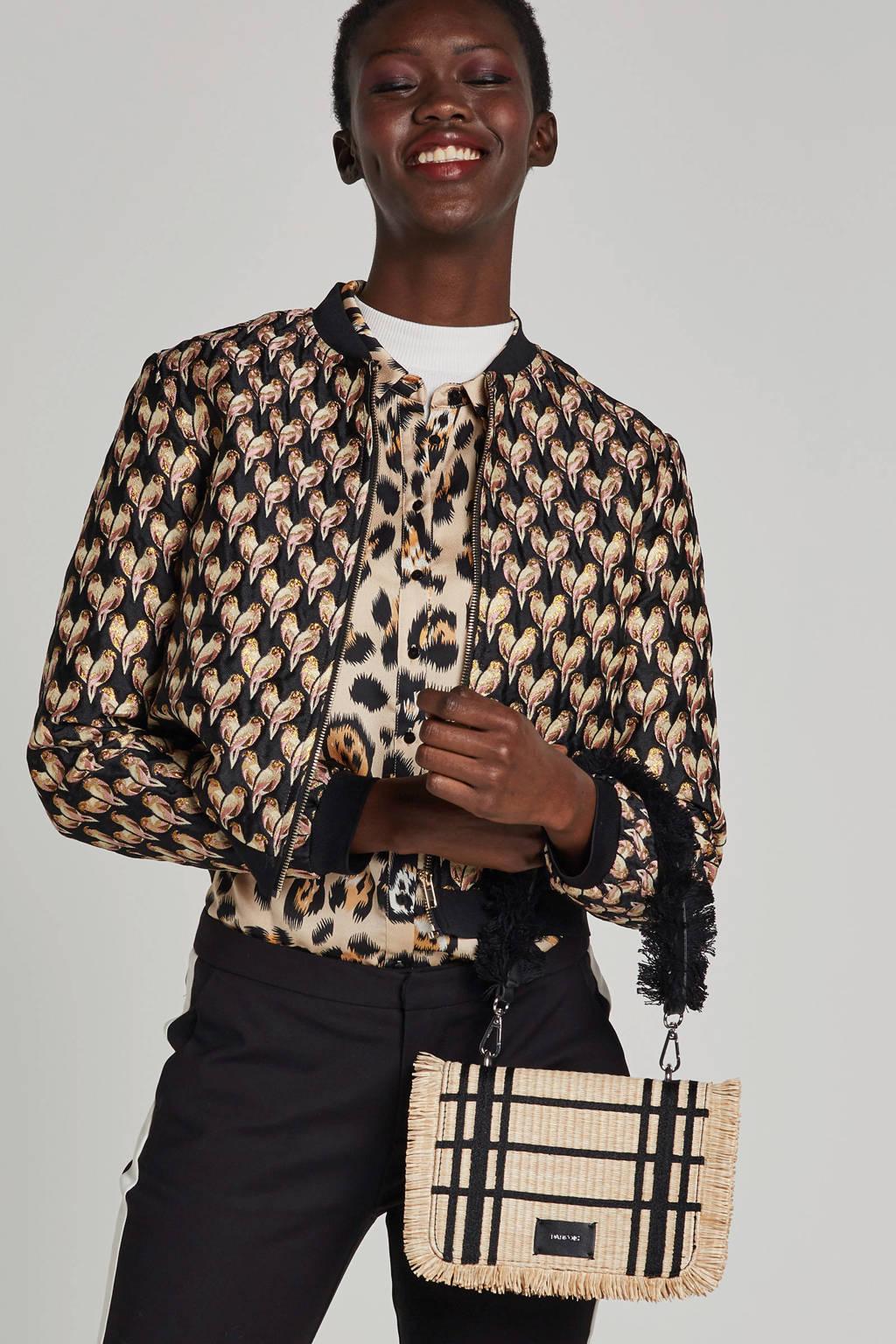 VILA vest met vogel print en glitter details, Zwart/roze/goud