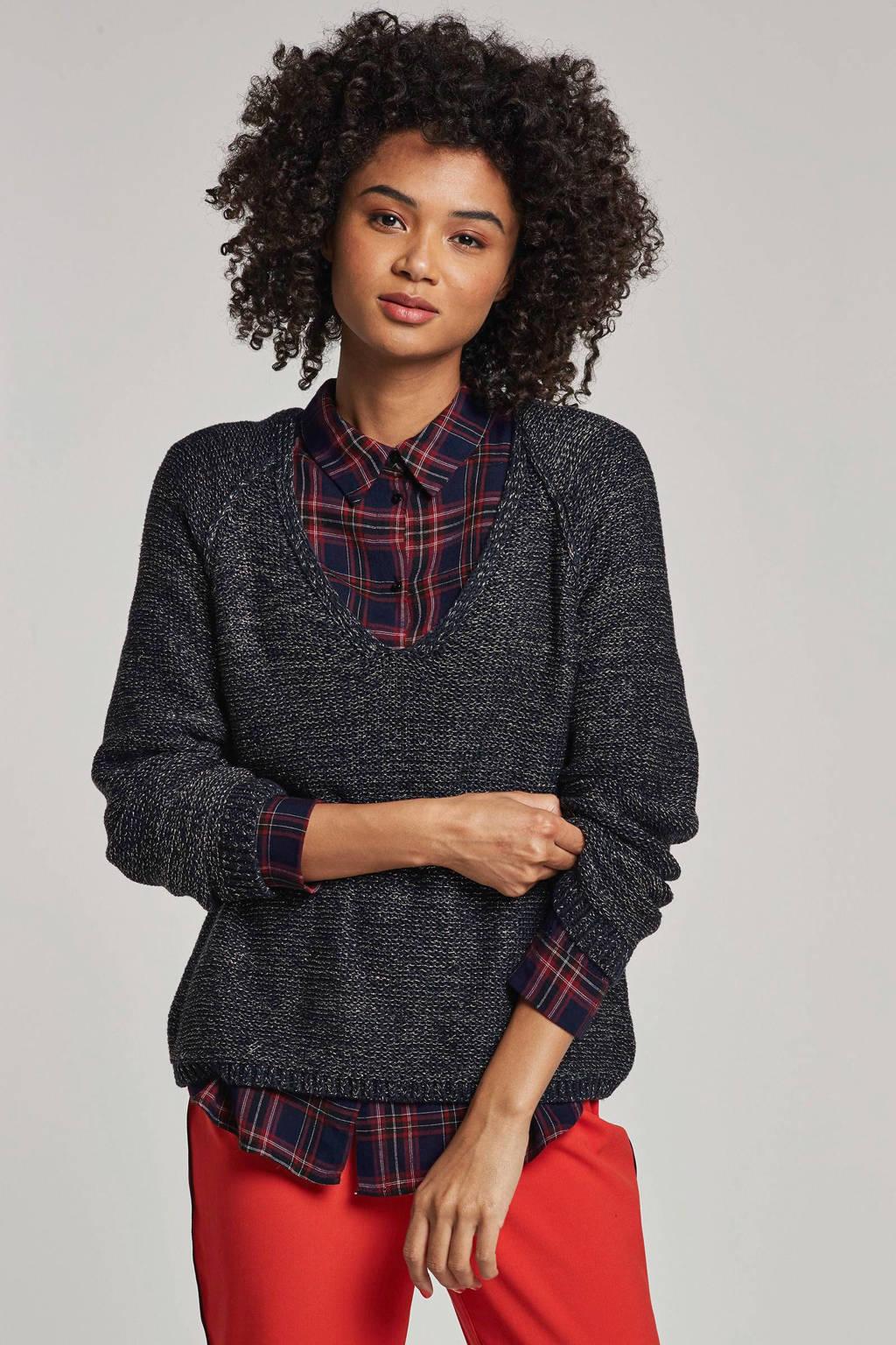 VILA gebreide trui met glitter details, Donkerblauw/goud