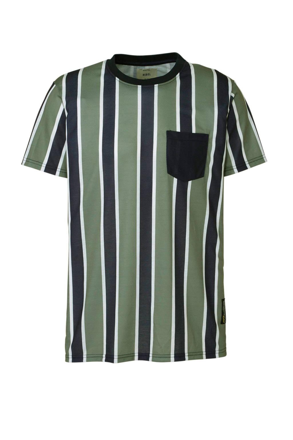 Redefined Rebel gestreept T-shirt groen, Groen/blauw