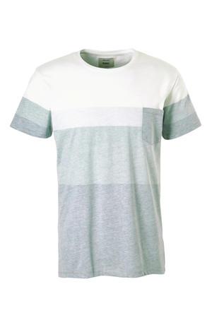 T-shirt grijsgroen/wit