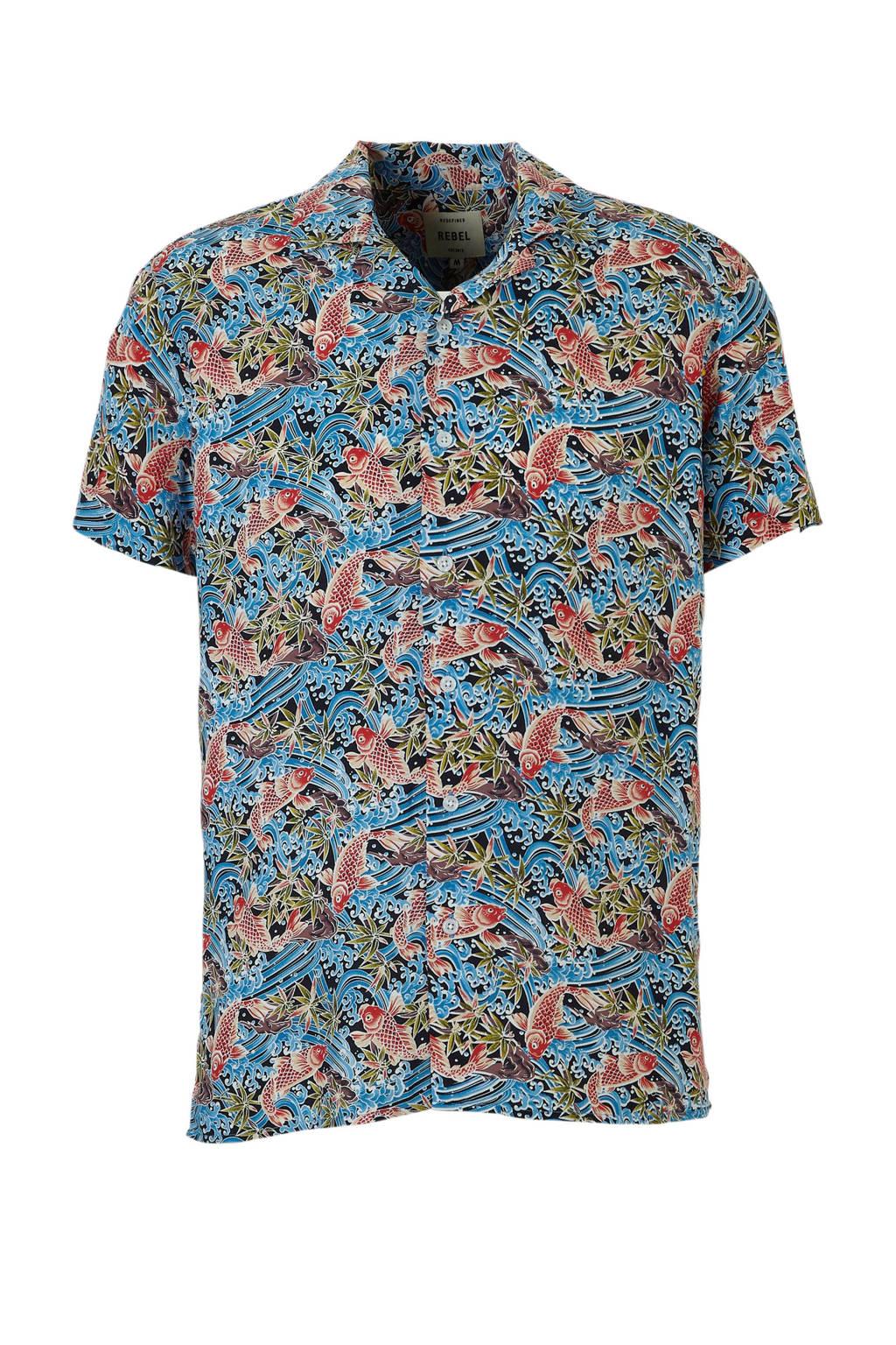 Redefined Rebel overhemd Robert korte mouw, Blauw