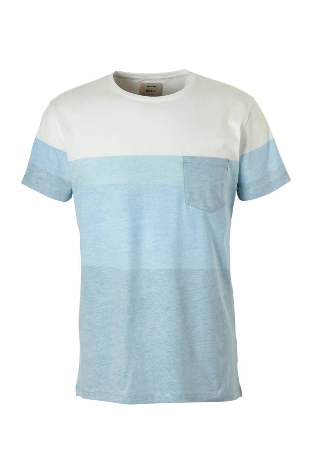Redefined Rebel gemêleerd T-shirt Dexter, Blauw/wit
