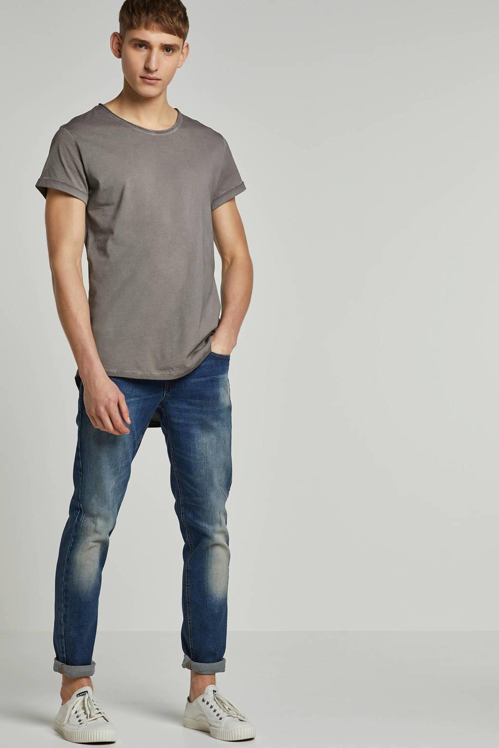 Redefined Rebel slim fit jeans Copenhagen Destroy met slijtage, Dusty Blue