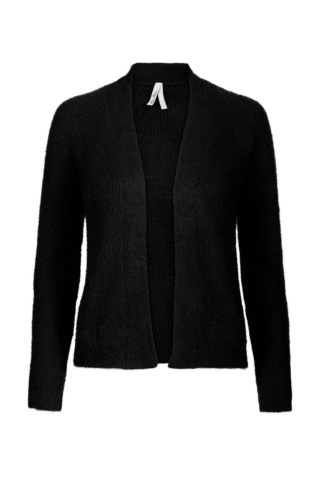 Miss Etam Regulier fluffy vest zwart, Zwart