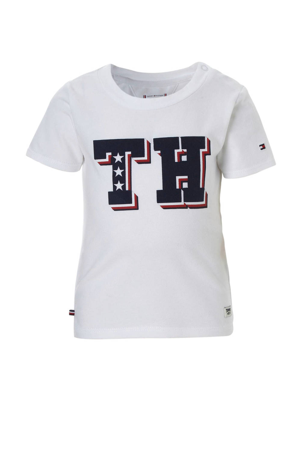 Tommy Hilfiger baby T-shirt met logo wit, Wit