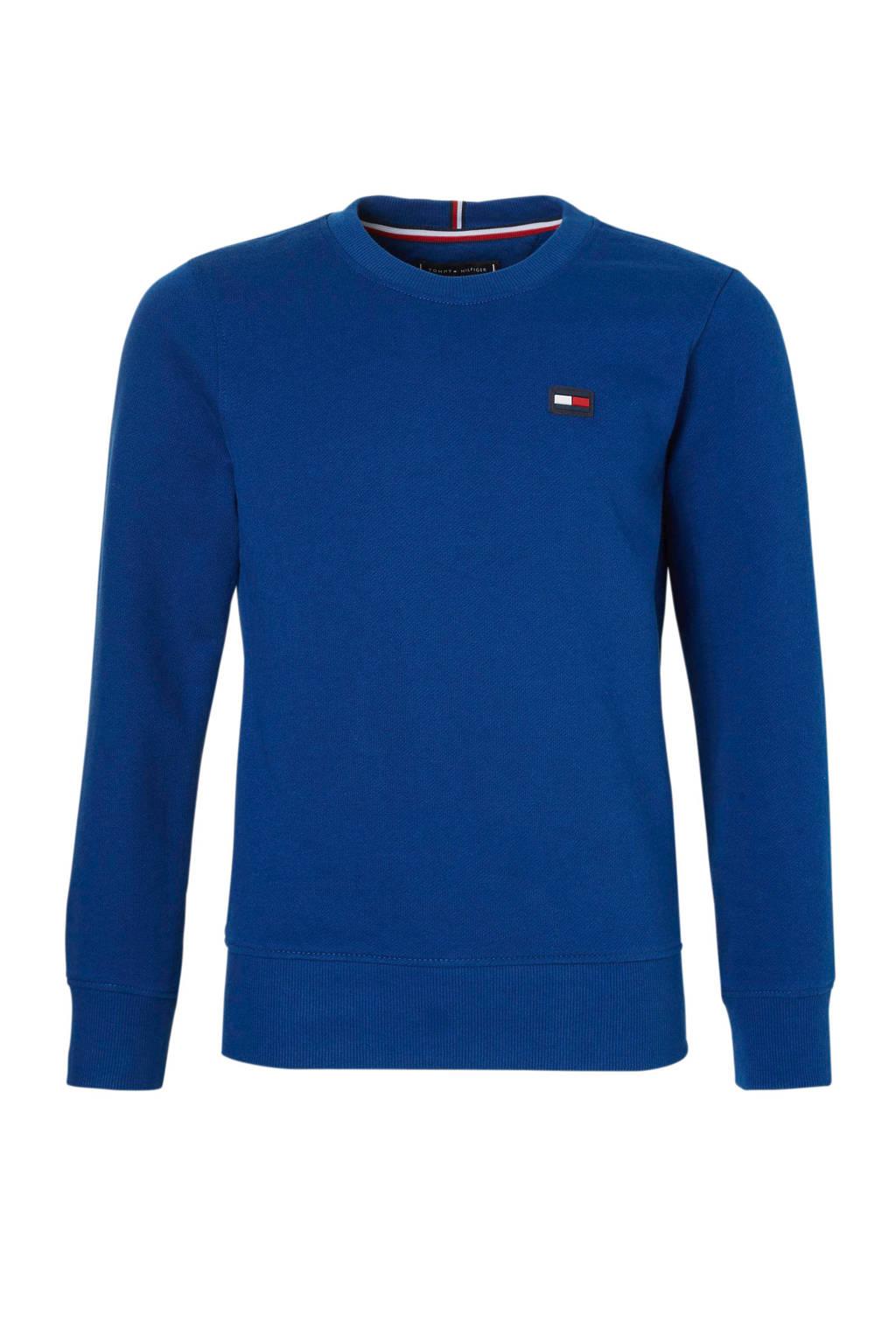 Tommy Hilfiger sweater met vlag logo kobaltblauw, Kobaltblauw