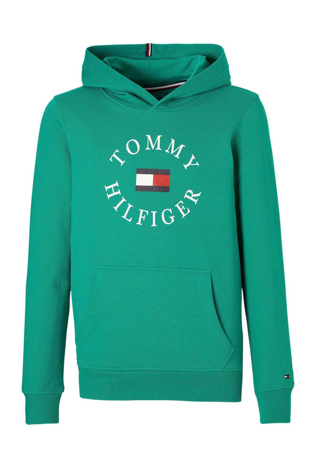 Tommy Hilfiger hoodie met logo zeegroen, Zeegroen