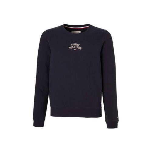 Tommy Hilfiger sweater met kleine logoprint donkerblauw kopen