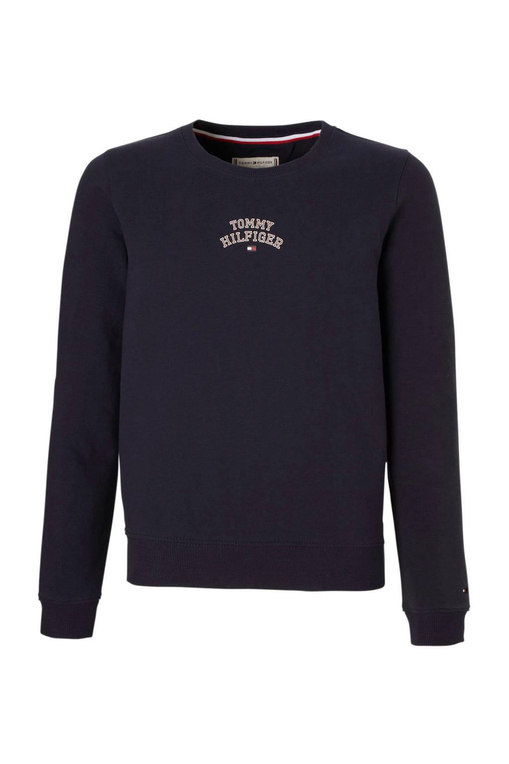 Tommy Hilfiger sweater met kleine logoprint donkerblauw, Donkerblauw