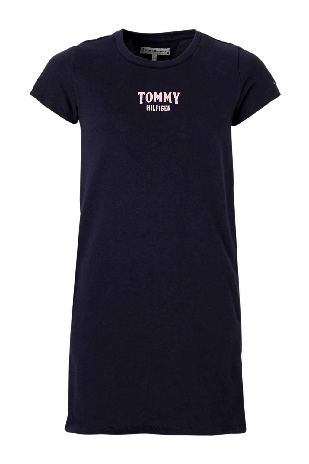 Tommy Hilfiger jurk met kleine logoprint donkerblauw, Donkerblauw