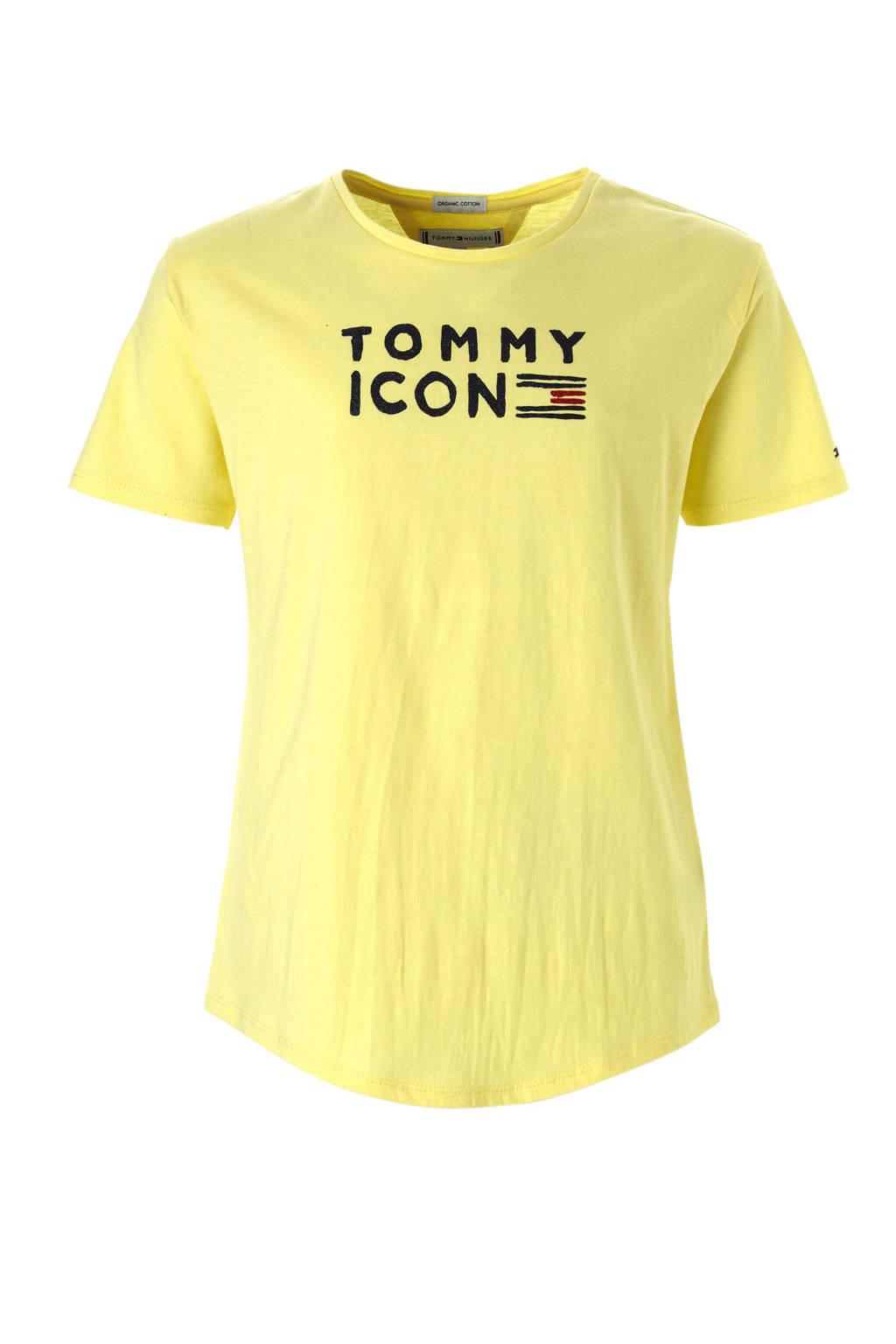 Tommy Hilfiger T-shirt met logo lichtgeel, Lichtgeel