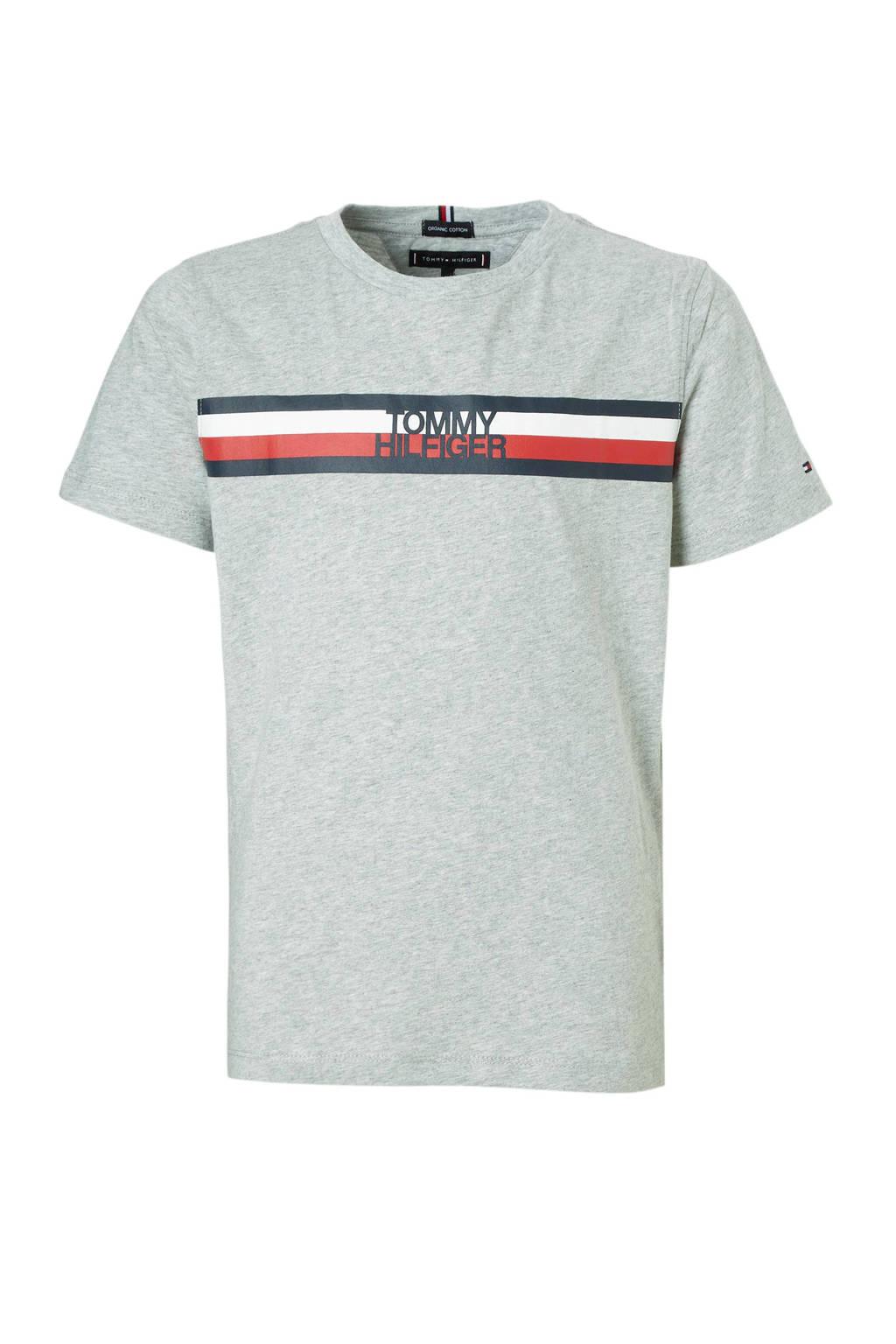 Tommy Hilfiger T-shirt met printopdruk grijs melange, Grijs melange